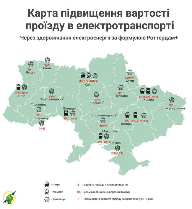 В 2018 году в некоторых городах Украины стоимость проезда выросла на 100%