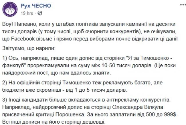 """Стало відомо, скільки кандидати в президенти України заплатили за рекламу в """"Фейсбуці"""""""