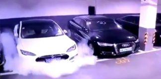 Электромобиль Tesla самовольно загорелся на парковке - today.ua