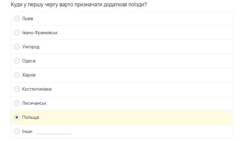 """Рідкісна нагода: """"Укрзалізниця"""" запустила голосування серед пасажирів"""