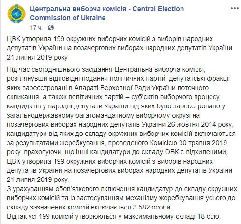 В Україні утворили 199 окружних виборчих комісій