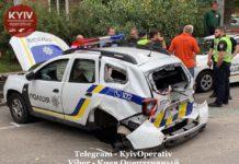 ДТП у Києві: Audi перекинула поліцейський Renault (фото) - today.ua