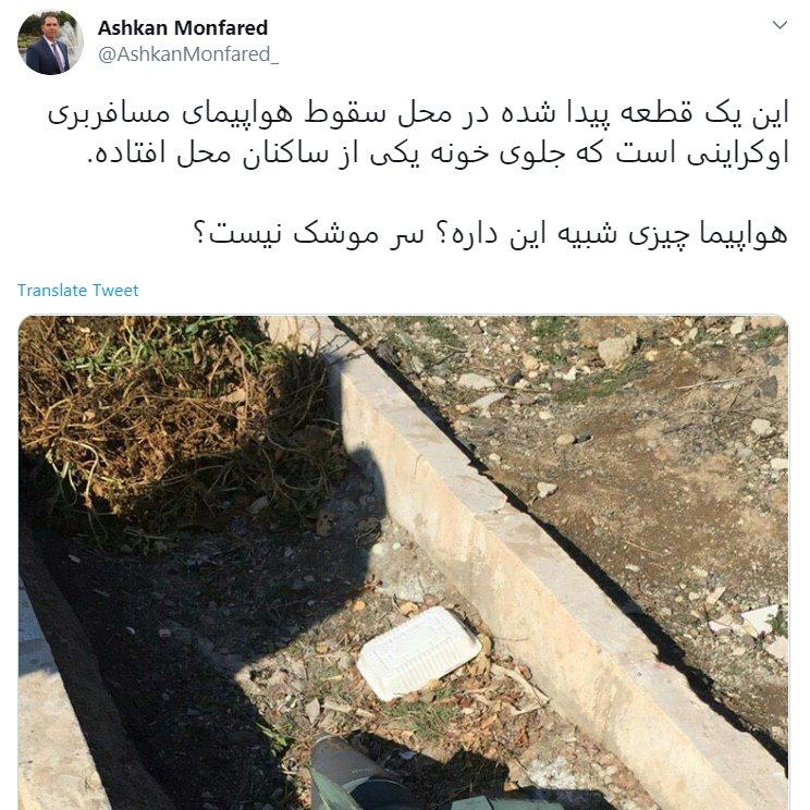 Украинский самолет в Иране могла сбить ракета: опубликованы фото