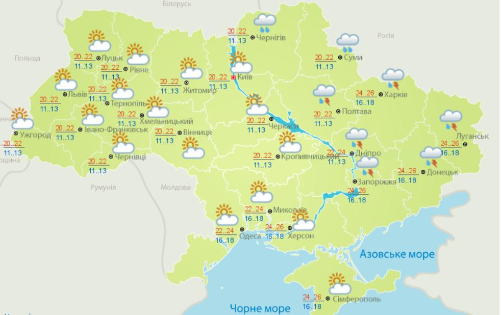 Україну накриють дощі з грозами і 30-градусна спека: синоптики розповіли про погоду на початок тижня