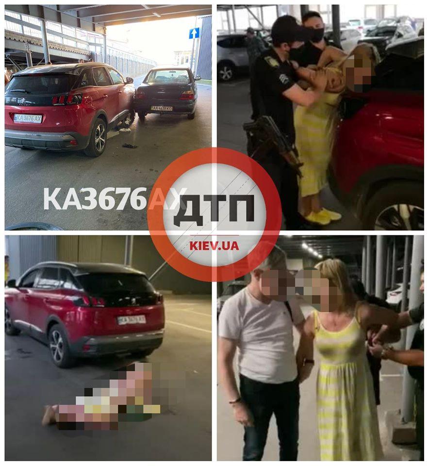 П'яна жінка влаштувала у Києві ДТП на парковці і стриптиз перед поліцейськими