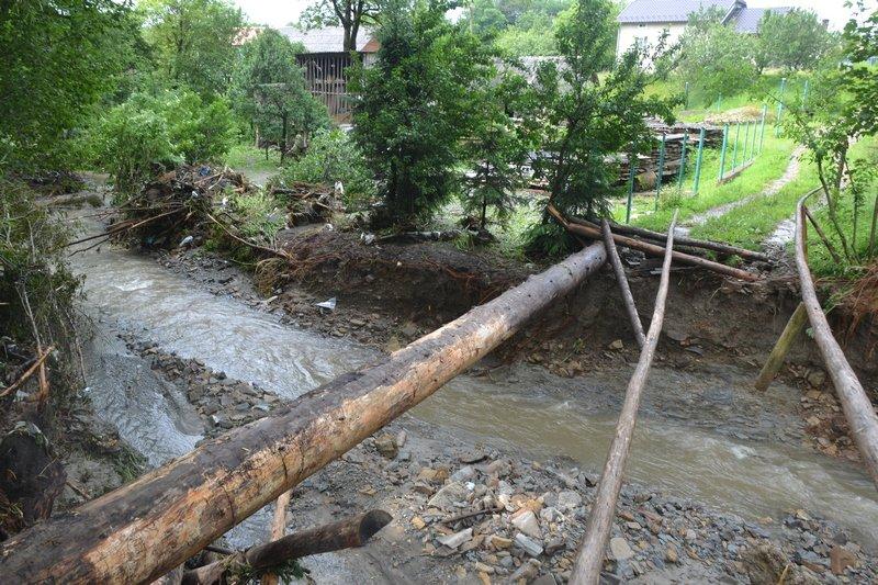 На Львівщині після потужної зливи річка вийшла з берегів: затоплені сотні будинків – фото