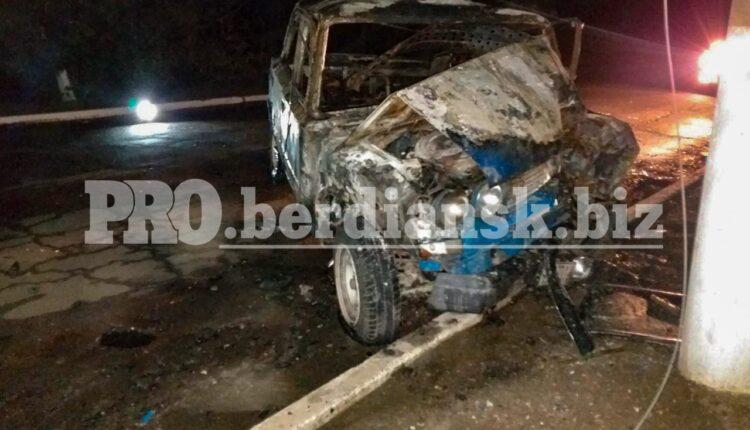 Жуткое ДТП в Запорожской области: водитель не смог выбраться из пылающей машины (фото)