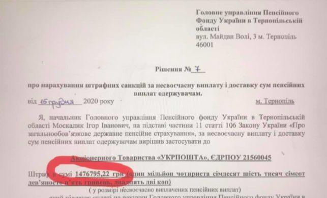 """Пенсійний фонд оштрафував """"Укрпошту"""" на 1,5 млн грн за несвоєчасну виплату пенсій"""