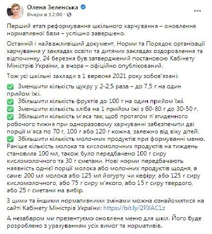 Меню в украинских школах с 1 сентября: Елена Зеленская рассказала, что будет меньше хлеба и сахара