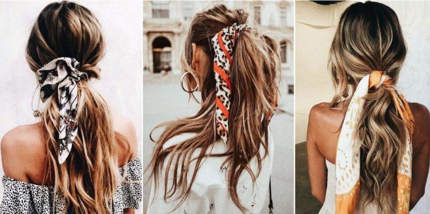 Три модні зачіски з хусткою замість шпильки своїми руками