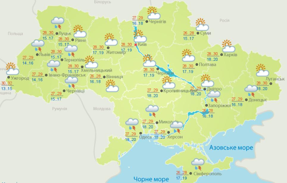 Ливни и грозы продолжат накрывать Украину на этой неделе: синоптики прогнозируют новый циклон