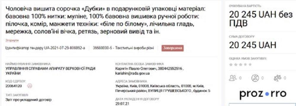 Вышиванки, спирт и марля: что закупает Верховная Рада на миллионы гривен из бюджета