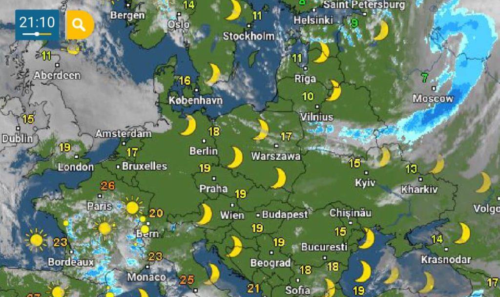 В Украину движется холодный атмосферный фронт: ночная погода принесет заморозки
